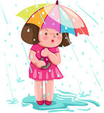 Girl in the rain. Illustration of isolated girl in the rain on white Royalty Free Stock Photos