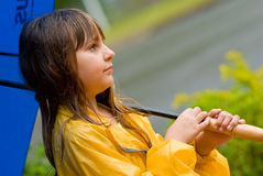 Girl in the rain stock photography