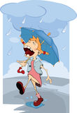 The girl in the rain. Cartoon Royalty Free Stock Photo
