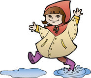 Girl in rain coat. Little girl in rain coat strides through puddles, cartoon style Royalty Free Stock Photography