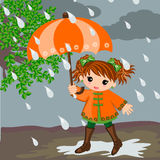 Girl and rain. Little girl in rainy day illustrations vector concept. Rain season concept stock illustration