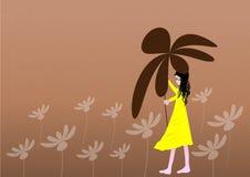 Girl in the rain. Girl walking in the rain royalty free illustration