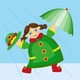 Girl in the rain. The girl walking in the rain with an umbrella stock illustration