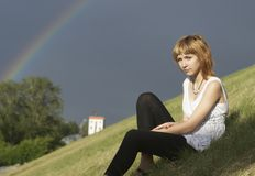 Girl and rainbow Royalty Free Stock Photography