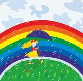 Girl and rainbow Stock Images