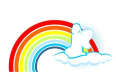 Girl and rainbow. The girl with the wings, sitting on a cloud on a background of a rainbow Stock Images