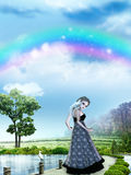 Girl with rainbow royalty free illustration