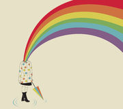 Girl and Rainbow. Vector illustration Stock Image