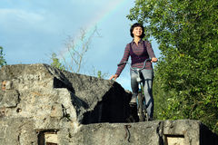 Girl rainbow background Royalty Free Stock Image