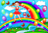 Girl on a rainbow with balloons Stock Image
