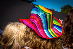 Girl in the rainbow hat, Amsterdam Royalty Free Stock Images
