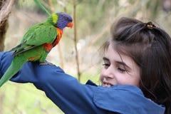 Girl and rainbow lorikeet Stock Photos