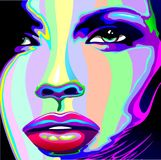 Girl Rainbow Psychedelic Portrait. Portrait Close Up of a Beautiful Girl. Her Face, Eyes, Lips, are painted with Psychedelic Rainbow Colors. Vector Illustration Stock Photo