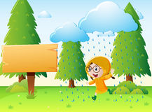 Girl in raincoat running in the rain. Illustration Stock Photography