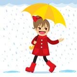 Girl Raining Spring Stock Images