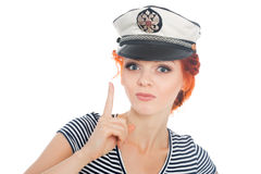 Girl with a raised finger up Stock Images