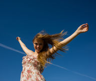 Girl with raised hands Royalty Free Stock Photos