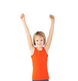 Girl with raised hands Stock Photography