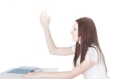 Girl raises her hand Royalty Free Stock Photos