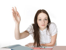 Girl raises her hand Royalty Free Stock Photo