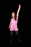 Girl raising arm. Royalty Free Stock Images