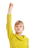 Girl raising hand Stock Photo