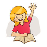 Girl raising hand while study Royalty Free Stock Photo