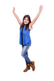 Girl raising hands Royalty Free Stock Image