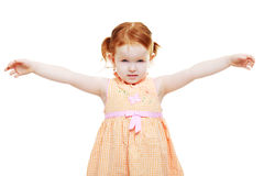 Girl raising her her hands Royalty Free Stock Images