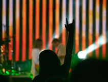 Girl raising up hand on rock concert Stock Images
