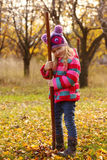 Girl with rake at the garden Stock Photos