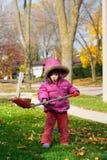 Girl raking leaves. Young girl raking leaves during an autumn morning Stock Photography