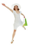 Girl ran to the bag in his hands Royalty Free Stock Photos