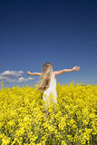 Girl on a Rape Field Stock Photos