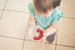 Girl with raspberries  Stock Images