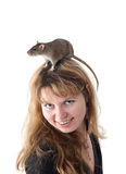Girl with a rat on a head Royalty Free Stock Images