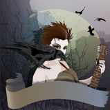 Girl and raven Stock Image