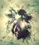 Girl with ravens manipulation Royalty Free Stock Photo