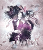 Girl with ravens manipulation Royalty Free Stock Images
