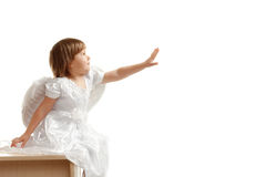 Girl reach out her hand. On white Royalty Free Stock Image