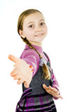 Girl reaches out to say hello Stock Photography