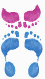 Girl reaching up to kiss boy. Footprints - illustrating girl reaching up to kiss boy Royalty Free Stock Photo