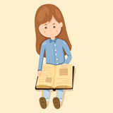 Girl read book. Cute cartoon Royalty Free Stock Image