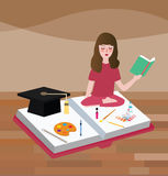 Girl read books peacefully try to find idea about painting education school class of art. Vector Royalty Free Stock Photo