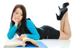 The girl read documents. Royalty Free Stock Images