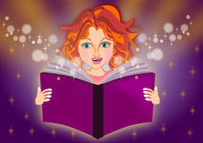 Girl read a magic book Stock Photo