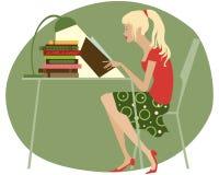 Girl reading. Student girl reading books near table vector illustration