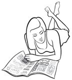 Girl reading. Black and white vector illustration. Girl reading magazine Royalty Free Stock Images