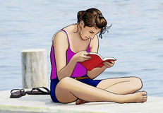 Girl Reading. Illustration of a girl involved in a book Royalty Free Stock Photography