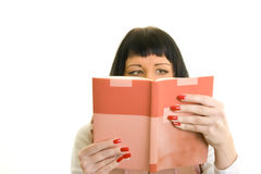 Girl reading book. Girl on a white background, read a book Royalty Free Stock Photos